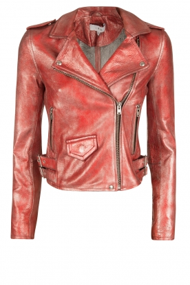 IRO |  Lambs leather metallic biker jacket | red