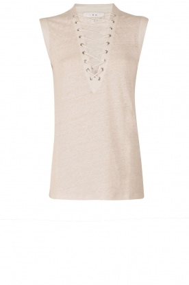 IRO |  Linen lace-up top Tissa | sand