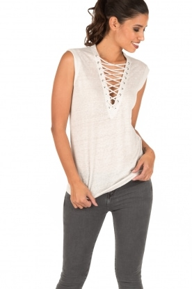 IRO | Linnen lace-up top Tissa | zand