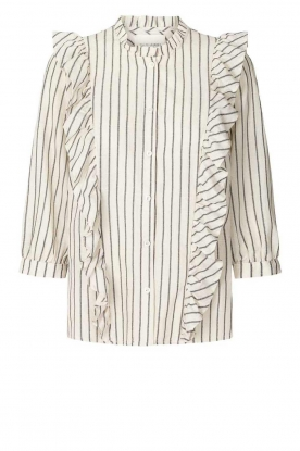 Lolly's Laundry | Striped ruffle blouse Hanni | white
