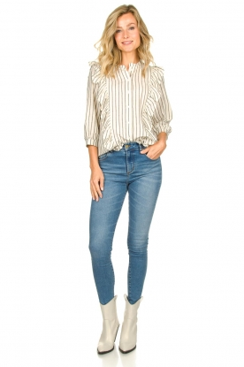 Look Striped ruffle blouse Hanni