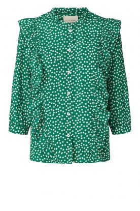 Lolly's Laundry | Printed blouse with ruffles Hanne | green