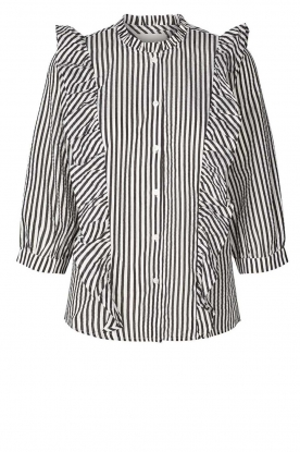 Lolly's Laundry |  Striped ruffle blouse Hanni | print