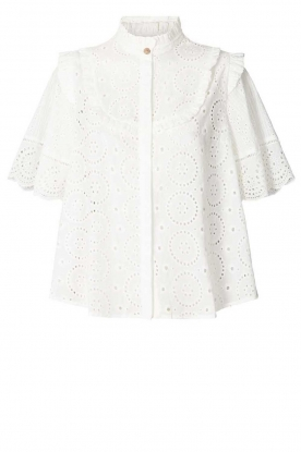 Lolly's Laundry |  Cotton ajour blouse Maria | white