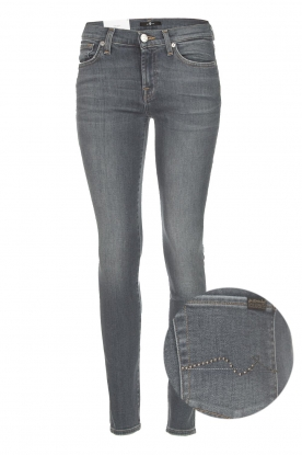 7 For All Mankind | Super skinny jeans met borduursels Amy | lichtgrijs
