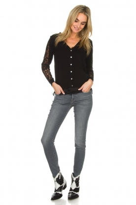 7 For All Mankind |  Super skinny jeans with embroidery Amy | light grey