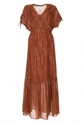 Dante 6 | Maxi button through dress with lurex Freya | brown
