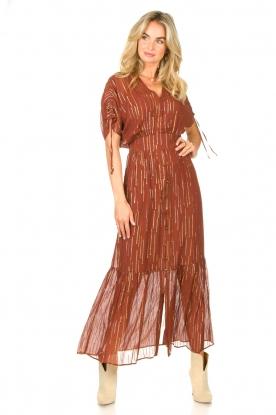 Dante 6    Maxi button through dress with lurex Freya   brown