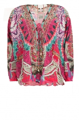 Camilla |  Silk lace-up blouse Desert Discotheque | pink