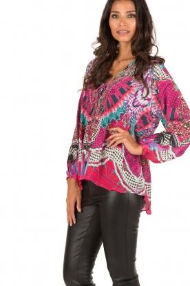 Camilla | Zijden lace-up blouse Desert Discotheque | roze