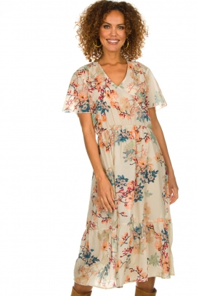 Lolly's Laundry |  Floral maxi dress Filuca | nude