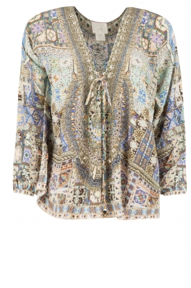 Camilla | Zijden lace-up blouse Weave Of Humanity | blauw