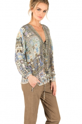 Camilla   Zijden lace-up blouse Weave Of Humanity   blauw