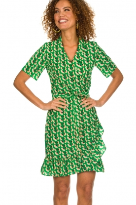 Lolly's Laundry |  Printed wrap dress Amber | green