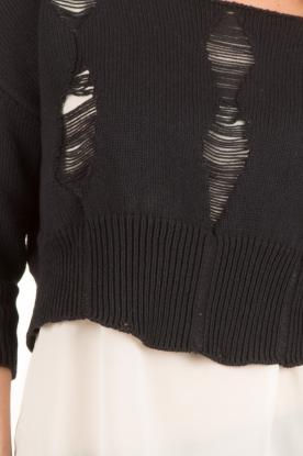 Atos Lombardini | Destoyed trui Luka | donkerblauw