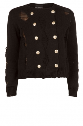 Atos Lombardini |  Cardigan with ripped details Rosita | black