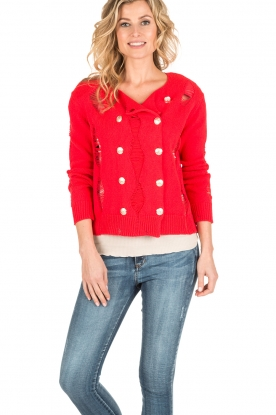 Atos Lombardini |  Cardigan with ripped details Rosita | red