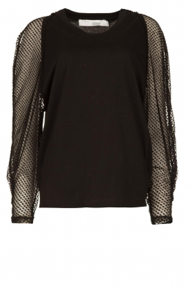 IRO |Top with see-through sleeves Jacky | black