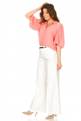 Look Textured blouse with puff sleeves Lecce