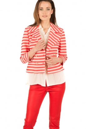 Atos Lombardini | Double breasted blazer Joline | rood/wit