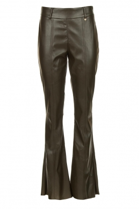 Nenette |Faux leather broek Elenco | groen