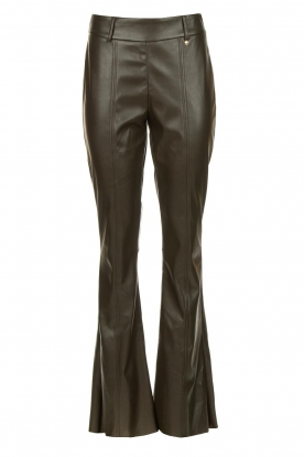 Nenette | Faux leather flared pants Elenco | green