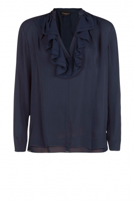 Atos Lombardini |  Blouse with ruffles Camcia | blue