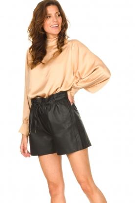 Dante 6 |  Leather shorts with drawstrings Palma | black