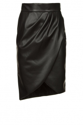 Nenette | Faux leather skirt with pleats Gun | black