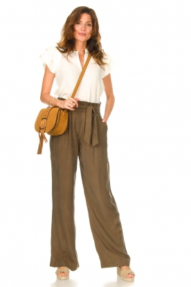 Dante 6 |  Trousers with tie waistbelt Garbo | green