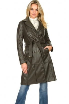 Nenette |  Faux leather coat with belt Val | brown