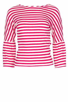 Patrizia Pepe |  Striped top with trumpet sleeves Viola | pink