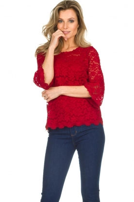 Rosemunde |  Lace top with trumpet sleeves Catherine | red