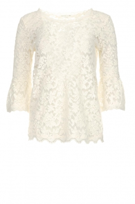 Rosemunde | Lace top with trumpet sleeves Catherine | natural