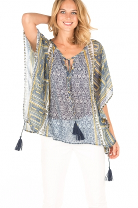 OndadeMar |  Semi-sheer kaftan Zinnia | blue/yellow