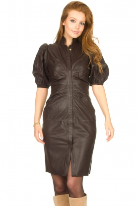 Notes Du Nord |  Lamb leather midi dress Amelia | brown