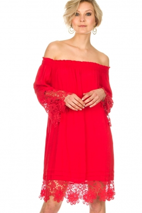 Hale Bob | Off-shoulder jurk Rosalyn | red