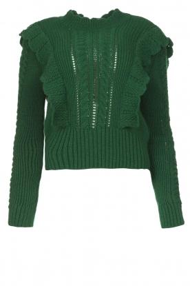 Kocca |  Knitted sweater with ruffles Mirko | green