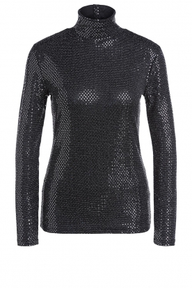 Set | Lurex turtleneck top Manne | silver