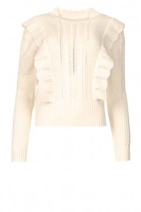 Kocca |  Knitted sweater with ruffles Mirko | beige