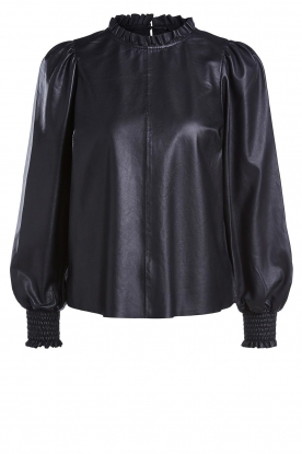 Set |  Leather top with puff sleeves Jill | black