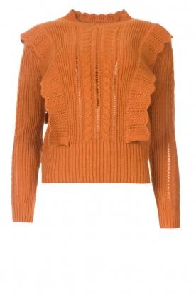 Kocca |  Knitted sweater with ruffles Mirko | brown