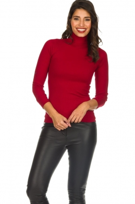 Rosemunde |  Silk turtleneck top Belle | red