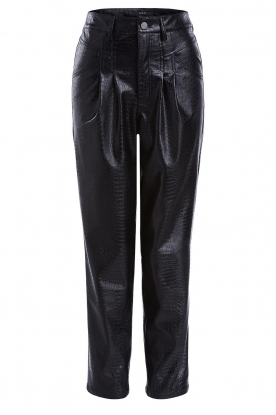 Set |  Faux leather pants with animal print Lilly | black