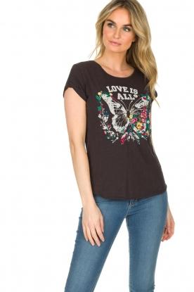 Leon & Harper | T-shirt Papillon | zwart