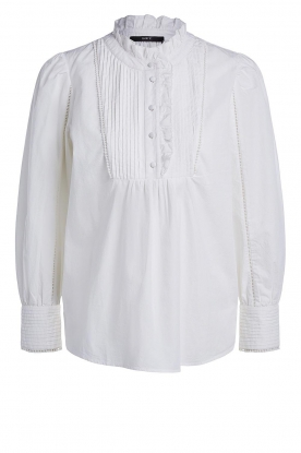 Set | Cotton top with pleated details Daisy | white