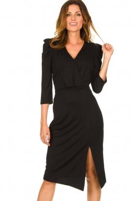 Set |  Midi dress with puf sleeves | black