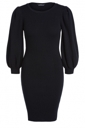 Set | Merino woolen dress with balloon sleeves Trace | black