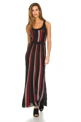 Silvian Heach |  Striped glitter maxi dress Mukdahan | black