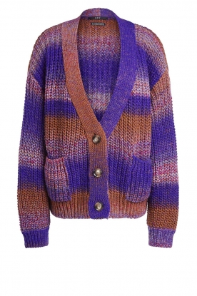 Set | Chunky knit cardigan Lucy | purple